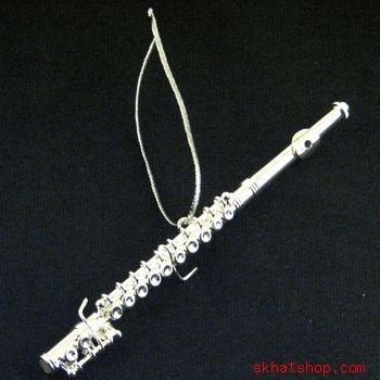 NEW SILVER TONE FLUTE - MUSICAL BAND INSTRUMENT, CHRISTMAS ORNAMENT