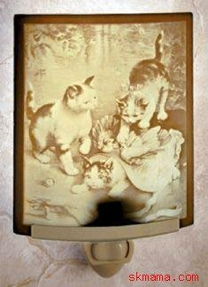 CATS KITTENS CURVED PORCELAIN, NURSERY KIDS NIGHT LIGHT