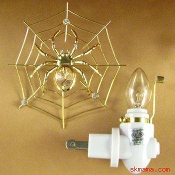 SPIDER WEB NIGHT LIGHT GOLD PLATED w SWAROVSKI CRYSTALS
