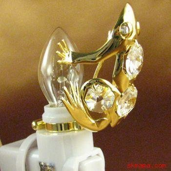 FROG NIGHT LIGHT, 24k GOLD PLATED w/ SWAROVSKI CRYSTALS