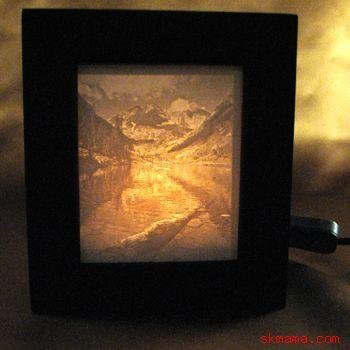 TRANQUILITY - MOUNTAINS PORCELAIN LITHOPHANE SHADOW BOX LIGHT