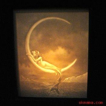 """""""MERMAID AND THE MOON"""" by David Delamare - PORCELAIN LITHOPHANE SHADOW BOX LIGHT"""