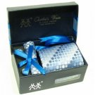 100% Silk Woven Round Square pattern Neck Tie Cufflink Handkerchief Gift Set Blue with Gift Box.