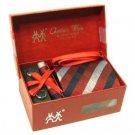 100% Silk Plaid Stripe pattern Neck Tie Cufflink Handkerchief Holiday Burgundy Red with Gift Box.