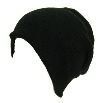 Soft Ribbed Ski Beanie Slouch Slouchy Knit Hat Black