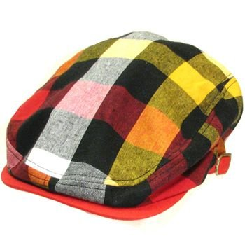 Cotton Multicolor Plaid Ivy Cabbie Hat Flat Cap Red