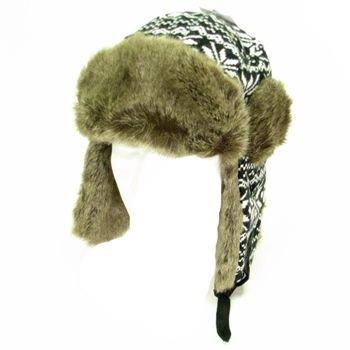 Faux Fur Snow Flake Trooper Trapper Ski Hat Black White