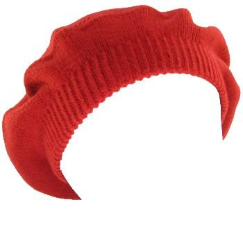 NEW SOLID BERET TAM  KNIT SLOUCHY JUNIOR CAP HAT RED