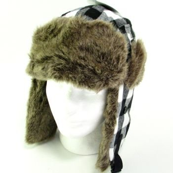 BUFFALO PLAID FAUX FUR PILOT TRAPPER TROOPER HAT BLACK