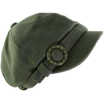 JUNIOR NEWSBOY CABBIE BERET BELT BUCKLE CAP HAT DK GRAY