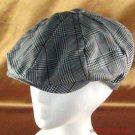 PLAID NEWSBOY CABBY DRIVER GATSBY CAP HAT BLACK S/M