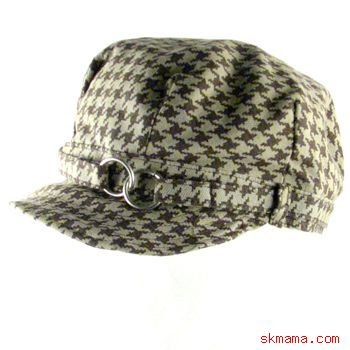 100% COTTON FOLDABLE NEWSBOY HOUNDSTOOTH CAP HAT BROWN