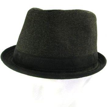 NEW HERRINGBONE UPTURN BRIM FEDORA TRILBY HAT BLACK M