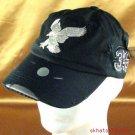 FRAYED DISTRESSED SPITFIRE EAGLE BLACK SILVER CAP ADJST