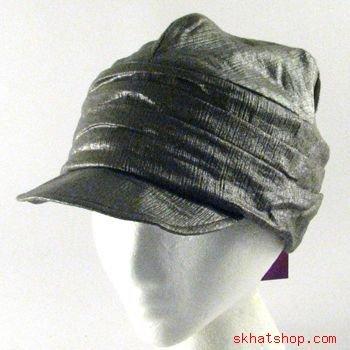 CUBAN CRINKLE LUREX NEWSBOY CABBY DRIVER CAP HAT OLIVE