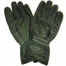 Men's Leather Light Lined Padded Biker Snap Gloves 2XL