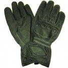 Men's Leather Light Lined Padded Biker Snap Gloves M