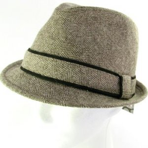 WOOL CHK HERRINGBONE STINGY FEDORA TRILBY HAT BROWN LXL