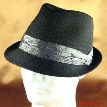 PINSTRIPE FEDORA PRINTED PAISLEY 3 PLEAT HAT BLACK M/L