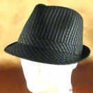 100% COTTON PINSTRIPE STINGY FEDORA TRILBY HAT BLACK ML