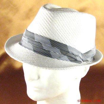 3 PLEAT BAND STINGY BRAID FEDORA TRILBY HAT WHITE L/XL