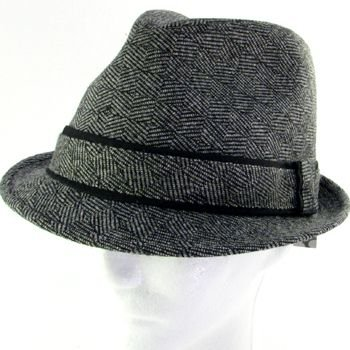 WOOL CHK HERRINGBONE STINGY FEDORA TRILBY HAT BLACK LXL
