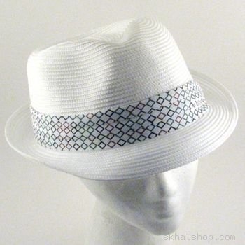 BRAID STINGY BRIM FEDORA TRILBY SPRING HAT BAND WHITE L