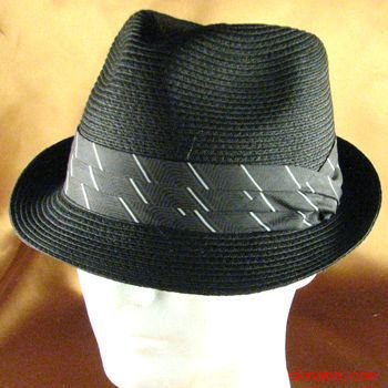 BRAID 3 PLEAT BAND STINGY FEDORA TRILBY HAT BLACK L/XL