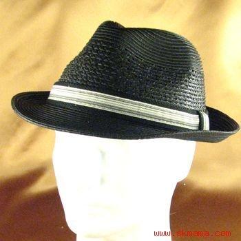PP WATERPROOF GROSGRAIN FEDORA CRUSHABLE HAT BLACK M/L