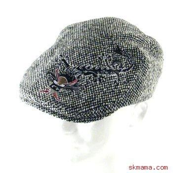 TWEED DRAGON EMB IVY DRIVING GOLF CAP HAT BLACK L/XL
