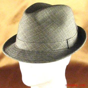 CLASSIC JACQUARD PLAID STINGY FEDORA TRILBY HAT BROWN L