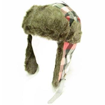 Faux Fur Buffalo Plaid Trooper Trapper Ski Hat Gray