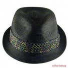 BRAID STINGY BRIM FEDORA TRILBY GANGSTER HAT BLACK S/M