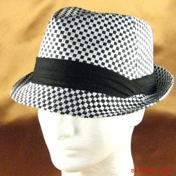 BRAID 3 PLEAT CHECK STINGY FEDORA TRILBY HAT BLACK L/XL