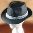 NEW VENTED BRAID TOYO TRILBY FEDORA CRUSHABLE HAT BLACK