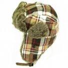 Soft Faux Fur Plaid Trooper Trapper Pilot Ski Hat Brown