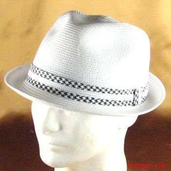 PP WATERPROOF STINGY BRIM FEDORATRILBY HAT WHITE M/L