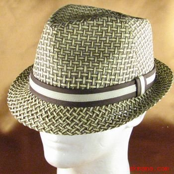 VENTED WEAVE STINGY BRAID FEDORA TRILBY HAT BROWN L/XL