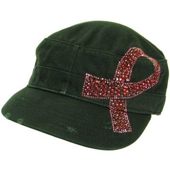 Cancer Pink Crystal Ribbon Frayed Cadet Hat Cap Black