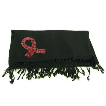 100% Pashmina Cancer Ribbon Crystal Wrap Shawl Black