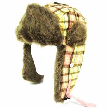 FAUX FUR PLAID TRAPPER TROOPER PILOT HAT *YELLOW M/L