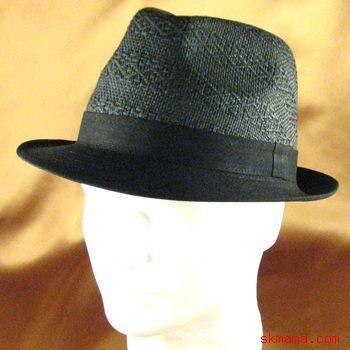 LINEN COTTON VENTED CROWN STINGY FEDORA HAT BLACK S/M