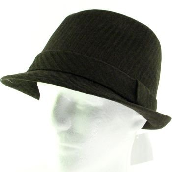 WOOL CORDUROY STINGY BRIM FEDORA TRILBY HAT BROWN L/XL