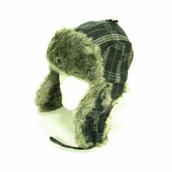 New Faux Fur Wool Plaid StripeTrooper Ski Hat Black M/L