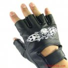 SKULL BONE FLAMES 2 FINGERLESS LEATHER BIKER GLOVES 2XL