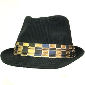 NWT COTTON PINSTRIPE BAND NECKTIE FEDORA HAT BLACK M/L