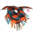 PLAID SHEER THIN BIG SQ SCARF WRAP SHAWL 40X40 ORANGE