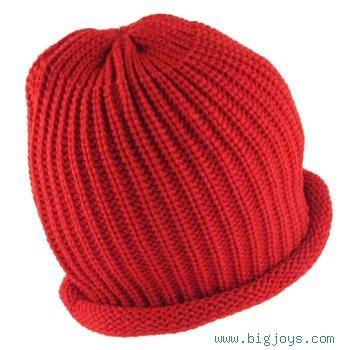 WINTER SKI SWEATER KNIT ROLL UP BEANNIE SKULL CAP RED