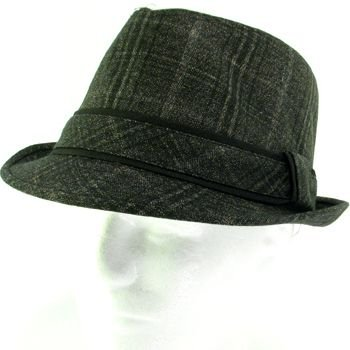 COTTON PLAID TWEED STINGY FEDORA TRILBY HAT D BROWN LXL