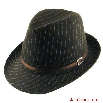 NWT COTTON PINSTRIPE FEDORA TRILBY GANGSTER  HAT BROWN